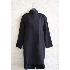 Line & Dot NWT pebbled black pea coat trench coat